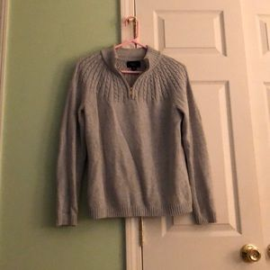 1/4 zip drifter cable sweater lands'end in gray